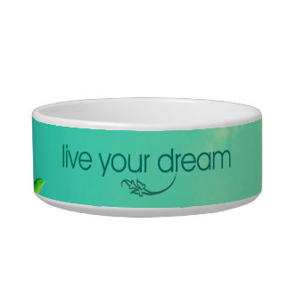 Live Your Dream. Vibrant Sky Cat Food Bowl