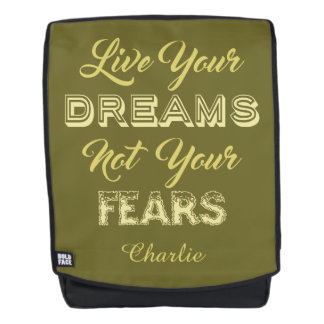 Live Your Dreams custom name & color backpack