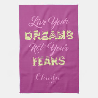 Live Your Dreams custom name & color hand towel