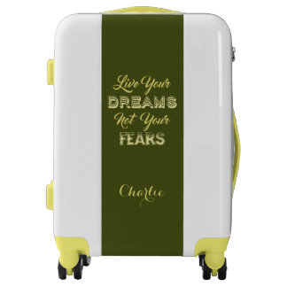 Live Your Dreams custom name & color luggage