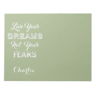 Live Your Dreams custom name & color notepads