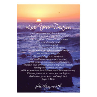 Live Your Dreams INSPIRATIONAL CARDS Large Business Cards (Pack Of 100)