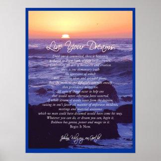 Live Your Dreams ~ von Goethe POSTER PRINT