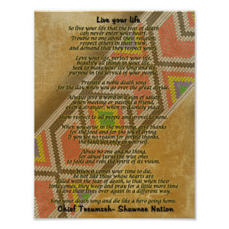 Live your life, Chief Tecumseh beads on parchment Poster