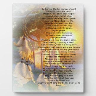Live your life Chief Tecumseh dreamcatcher Plaque