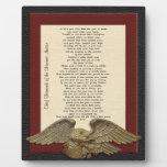 Live your life, Chief Tecumseh gold eagle plaque Plaque