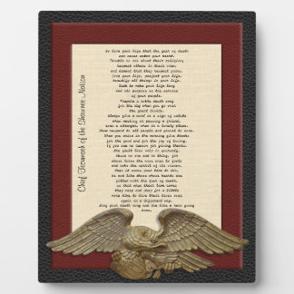 Live your life, Chief Tecumseh gold eagle plaque