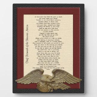 Live your life Chief Tecumseh gold eagle plaque Plaque