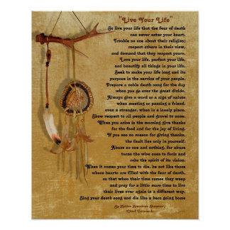 """Live Your Life"",Chief Tecumseh w/ Dream-catcher Poster"