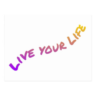 Live Your Life, colorful word art Postcard