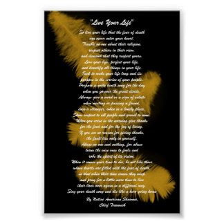 """Live Your Life""  Golden feathers, Chief Tecumseh Poster"