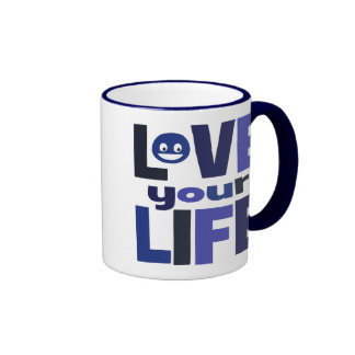 Live Your Life, Love Your Life Blue Ringer Coffee Mug