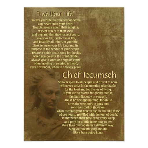 """Live Your Life""  on old parchment, Chief Tecumseh Posters"