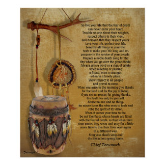 """""""Live your life"""" Tecumseh Dreamcatcher and Drum Poster"""