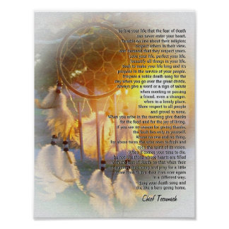 """Live your life"" Tecumseh Dreamcatcher sunset Print"