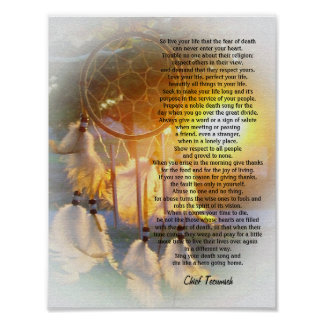 Live your life Tecumseh Dreamcatcher sunset Posters