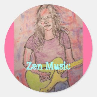 Live Zen Music Girl Sketch Classic Round Sticker