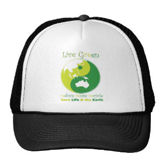 LiveGreen AustralAsia ying yang Mesh Hats