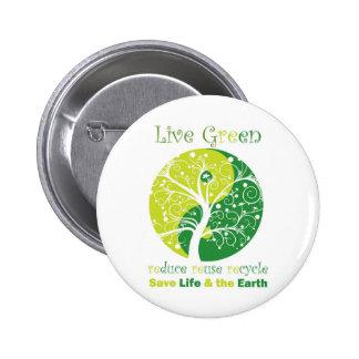LiveGreen - Ying Yang Pinback Button