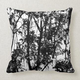 Lively Black White Manitoba Maple Trees Throw Pillow