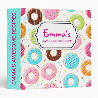 Lively colorful donuts sprinkles toppings pattern binder