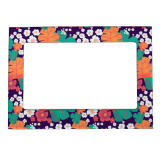 Lively floral and leaves floating in pond magnetic picture frame