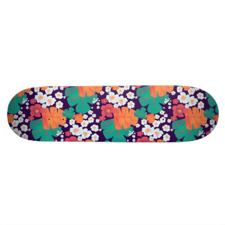 Lively floral and leaves floating in pond skateboard