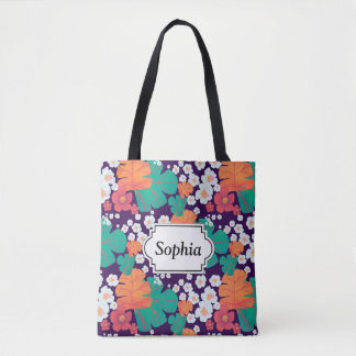 Lively floral and leaves floating in pond tote bag
