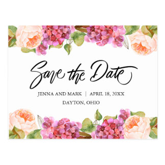 Lively Florals Save The Date Card