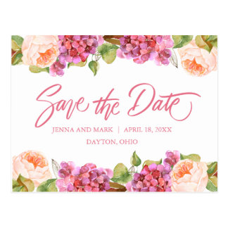 Lively Florals Save The Date Card - Peach