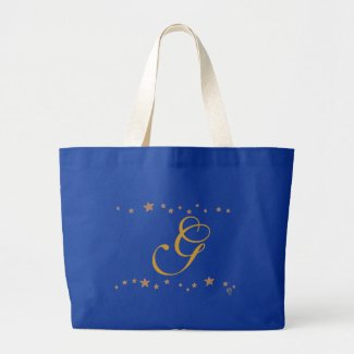 Lively Gold Stars Border Monogram Tote Bags