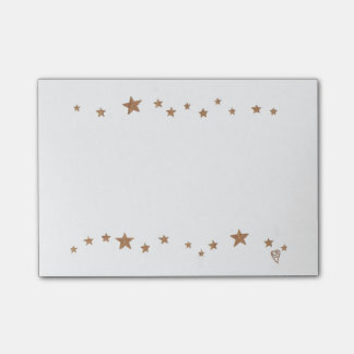 Lively Gold Stars Border Post it Notes