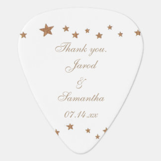 Lively Gold Stars Personalized Guitar Pick Favors