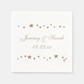 Lively Gold Stars Personalized Wedding Napkins Disposable Napkin