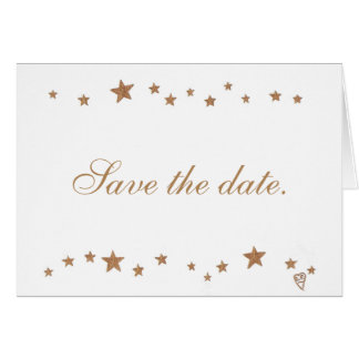 Lively Gold Stars Save the Date Note Cards