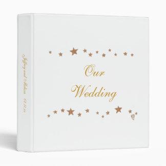 Lively Gold Stars Wedding Keepsakes Binder