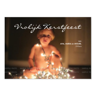 "Lively Kerstfeest Christmas photograph blue blank  5"" X 7"" Invitation Card"