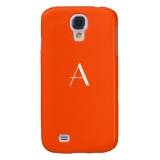Lively Orange-Red w/White Monogram Samsung Galaxy S4 Covers