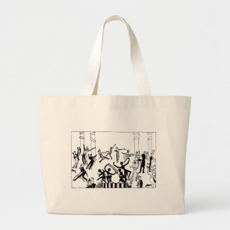 Lively Party with Dancing Large Tote Bag