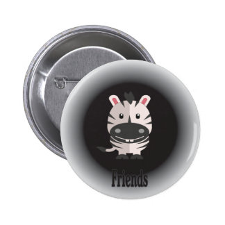 Lively picture of Zebra friend. Button