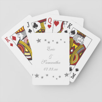Lively Silver Stars Personalized Playing Cards