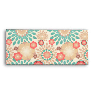 Lively warm spring flowers blooming pattern envelope