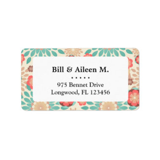 Lively warm spring flowers blooming pattern label