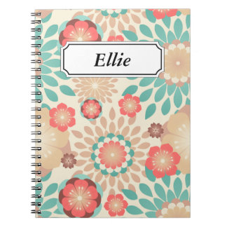 Lively warm spring flowers blooming pattern notebook