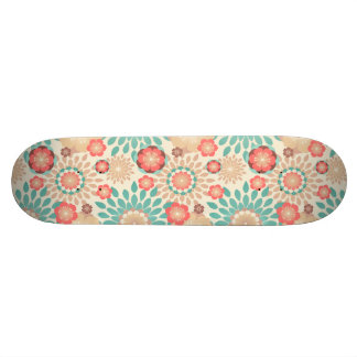 Lively warm spring flowers blooming pattern skateboard deck