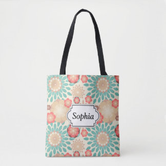 Lively warm spring flowers blooming pattern tote bag
