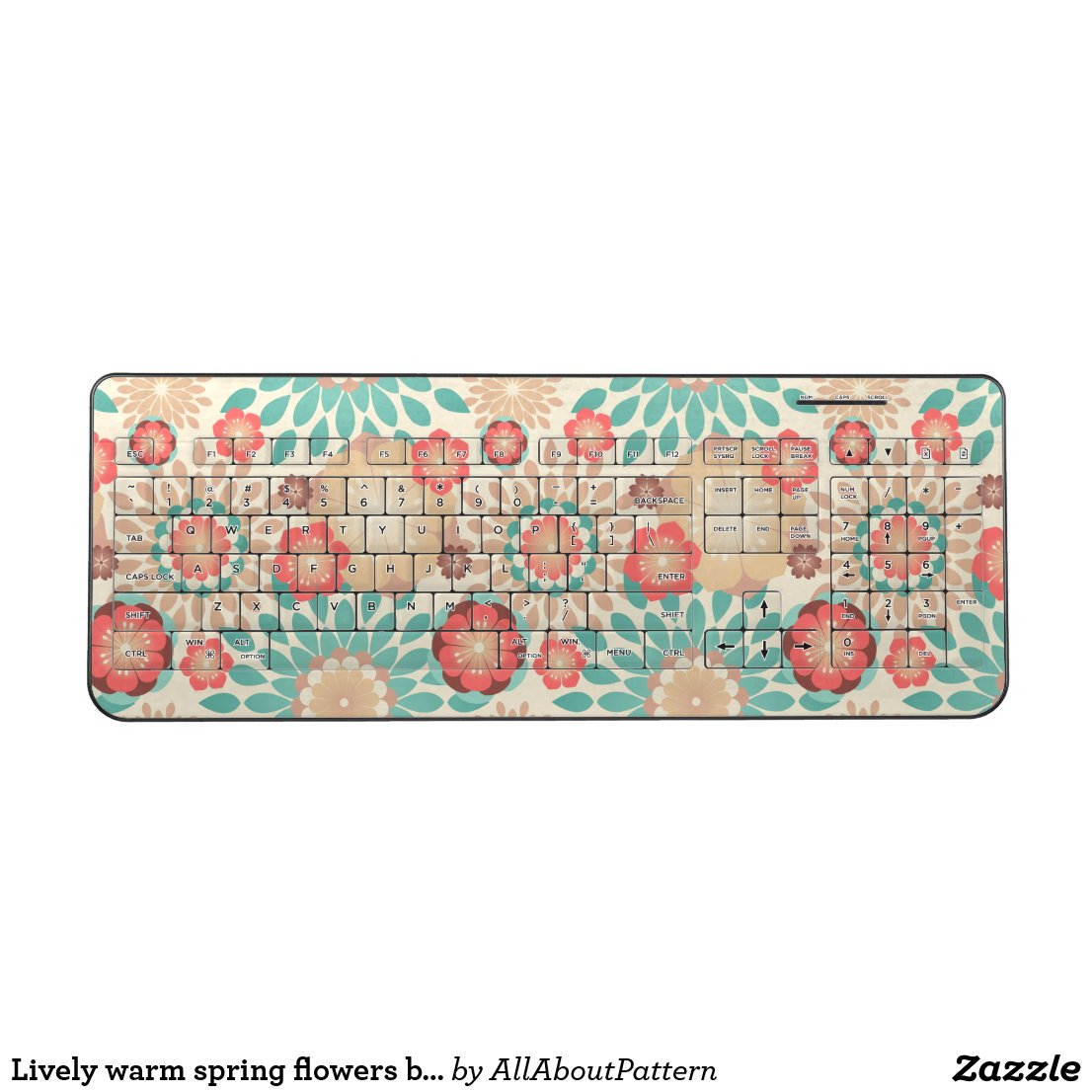 Lively warm spring flowers blooming pattern wireless keyboard