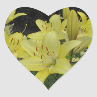 Lively Yellow Lilies Heart Sticker