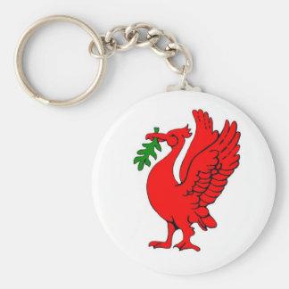 Liver bird basic round button keychain