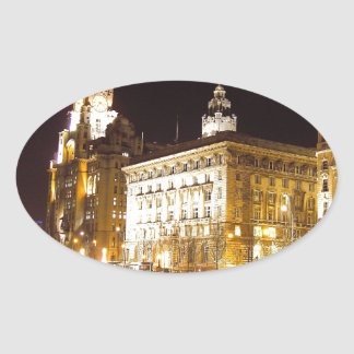 Liver Building & Canal, Liverpool UK Oval Sticker